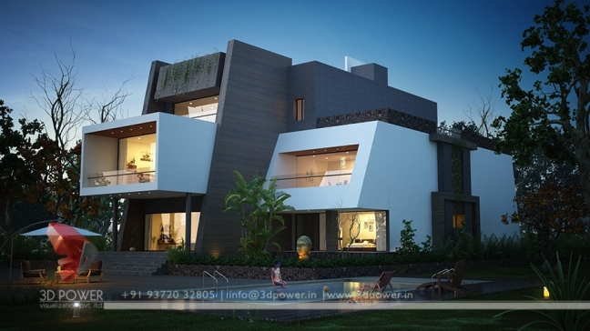 awesome high class bungalow landscape designing with 3d exterior ...