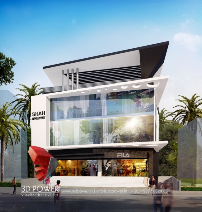Showroom Front Elevation Design : The era of architectural visualization for tomorrow d power